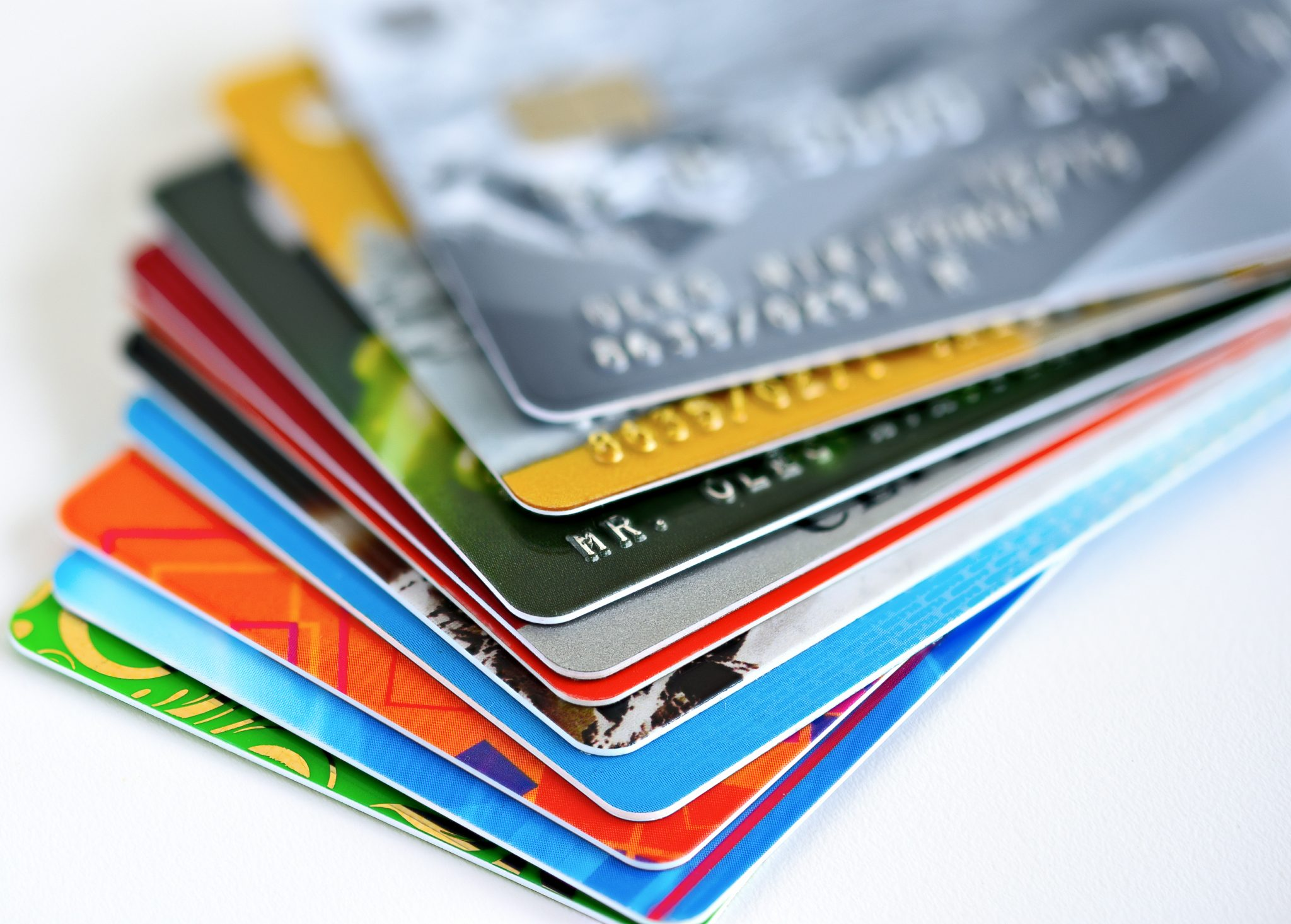 A stack of credit cards