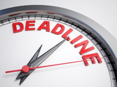 clock with the word deadline on the face