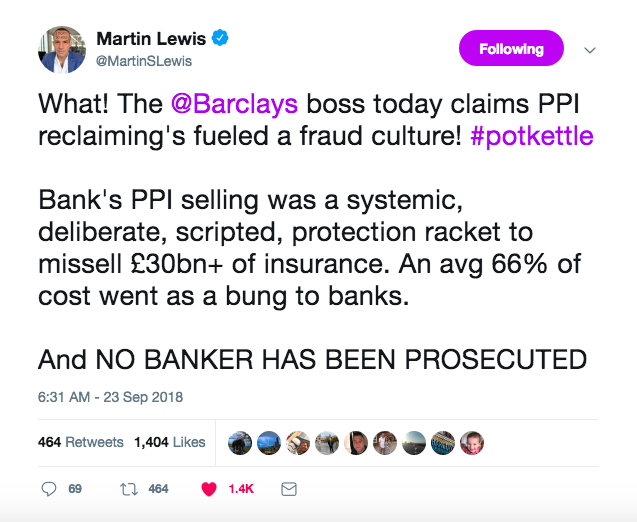 tweet from Martin Lewis about the PPI scandal