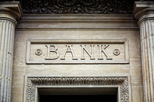 front entrance of a bank