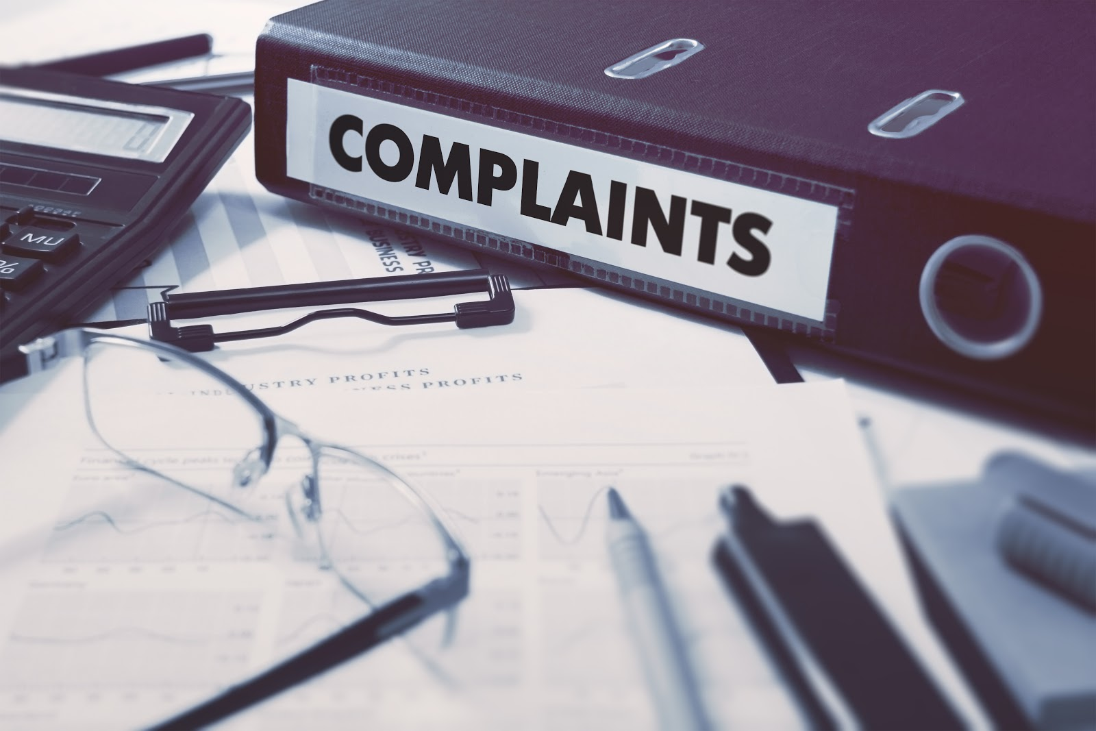complaints file on a stack of forms