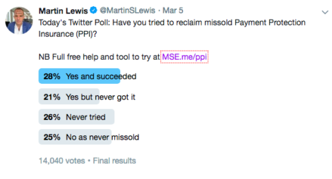 A tweet from Martin Lewis about PPI claims