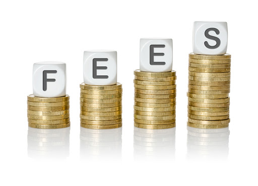 "stacks of coins with cubes on top spelling out ""fees"""